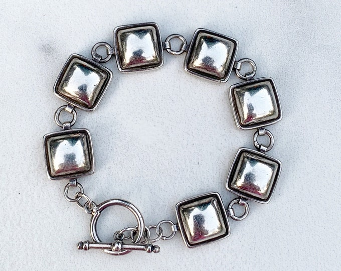 Vintage Silver Modernist Bracelet | Domed Link Bracelet