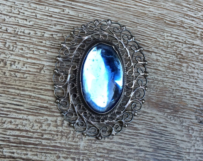 Vintage Silver Filigree Brooch | Mexican Silver | Blue Glass