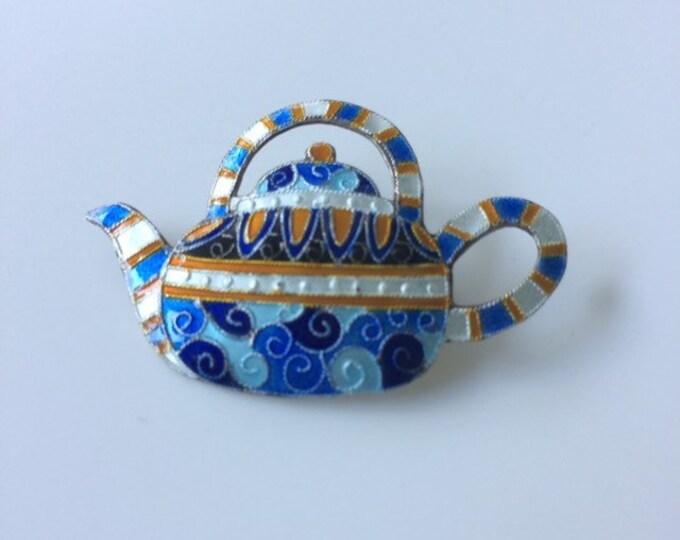 Vintage Silver Tea Pot Brooch | Enamel Brooch