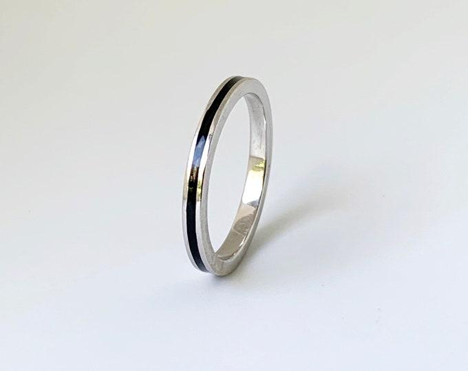 White Gold Hidalgo Black Enamel Ring | Hidalgo Stackable 18k Guard Ring| Size 5 1/4 Ring
