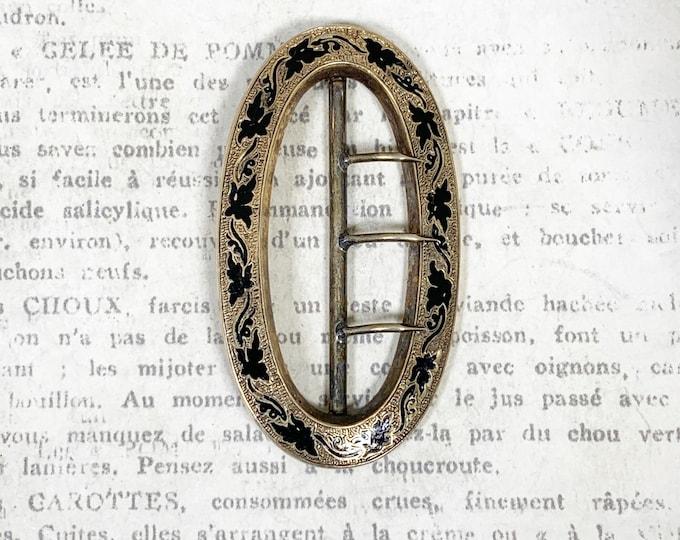 Victorian Black Enamel Belt or Dress Buckle | Antique Taille d'épargne Gold Buckle