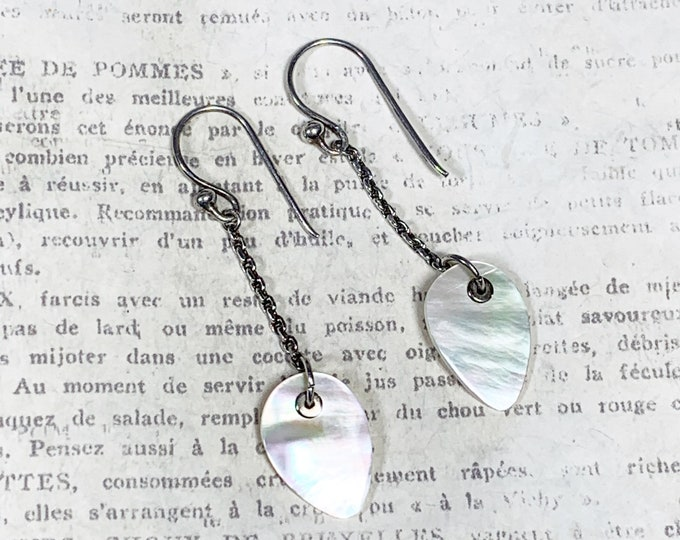 Vintage Silver Mother of Pearl Drop Earrings | Silver MOP Earrings