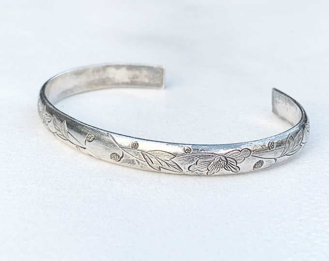 Antique Chinese Silver Cuff Bracelet   Chinese Engraved Wedding Cuff