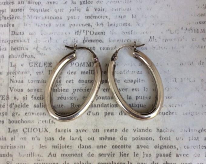 Vintage Silver Oval Hoop Earrings | Silver Hoops