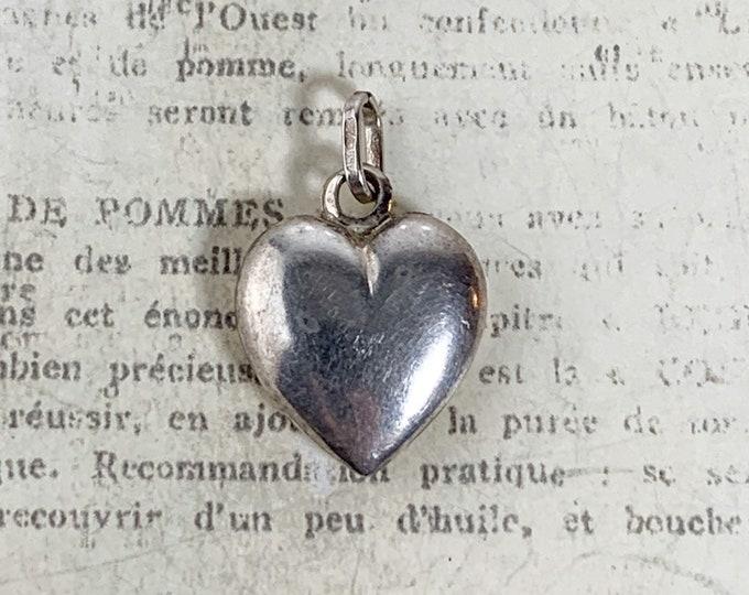 Vintage Silver Heart Charm | Puffy Heart Pendant