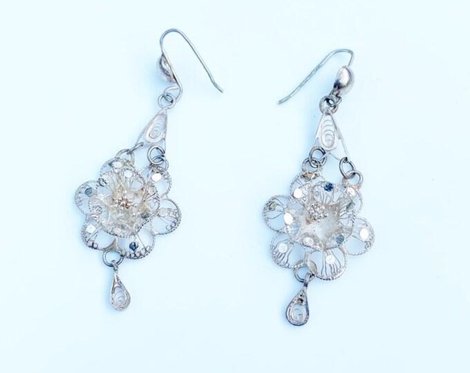 Vintage Filigree Flower Drop Earrings