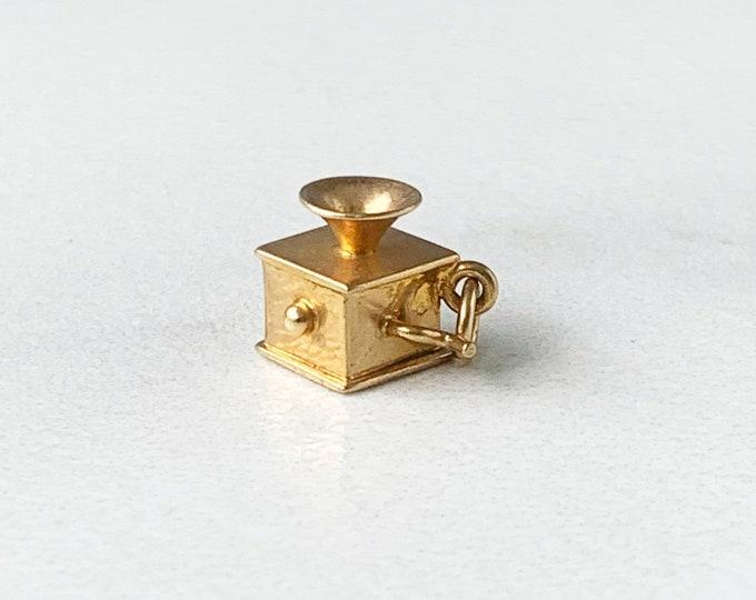 Vintage Gold Filled Phonograph Charm   12K GF Gramophone Charm   3D Charm