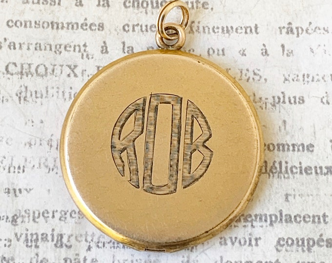 Vintage Gold Round Locket | ROB Monogram Locket