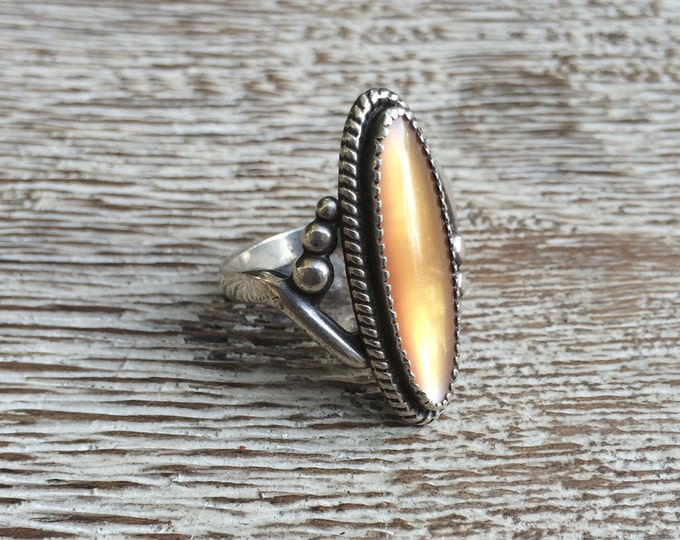 Vintage Silver Mother of Pearl Navette Ring | WM Co Wheeler | Size 6