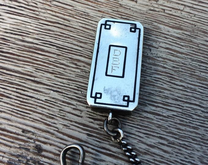 Vintage Silver Art Deco Pocket Watch Fob |  Belt Loop Pocket Watch Chain Fob | E.J.B. Co