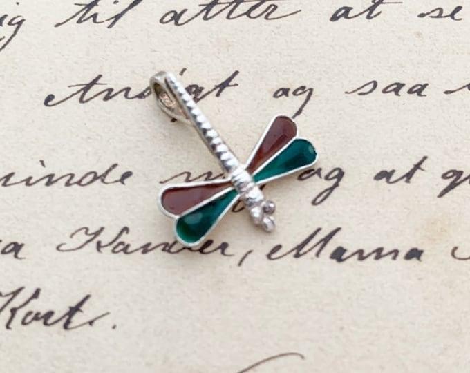 Silver Dragonfly Charm | Enamel Charm