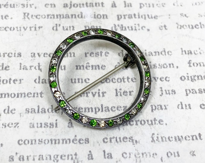 Vintage Silver Circle Pin Brooch | Green and White Rhinestones