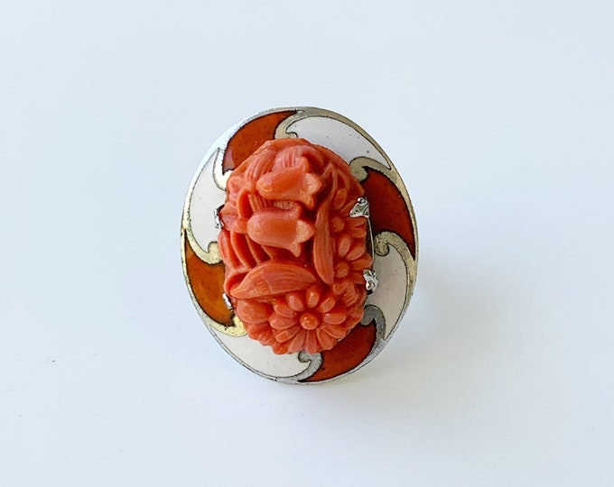 Vintage Floral Coral Glass Enamel Ring | US Size 6 1/2 Ring