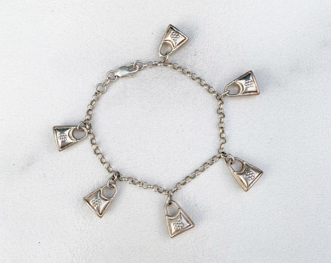 Vintage Silver Purse Charm Bracelet | Flower Purse Charms | Handbag Charm