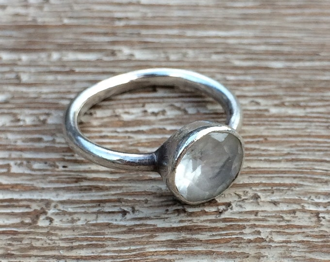 Vintage Silver Rock Crystal Ring | 925 Nepal | Size 5 1/2