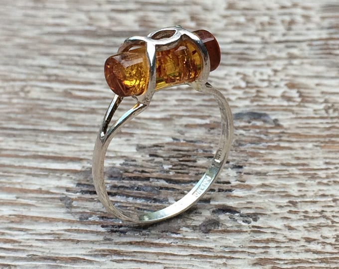 Vintage Silver Caged Amber Ring | Polish Amber Ring | Size 7
