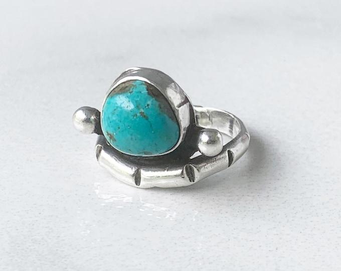 Vintage Silver Turquoise Ring | Southwest Turquoise Chiseled Ring | Size 7.5 Ring