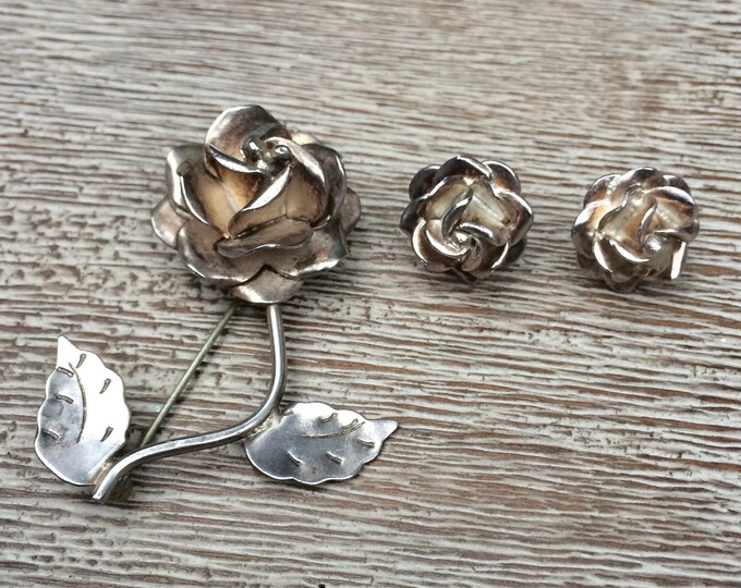 Vintage Silver Rose Earrings and Brooch Mexican Silver
