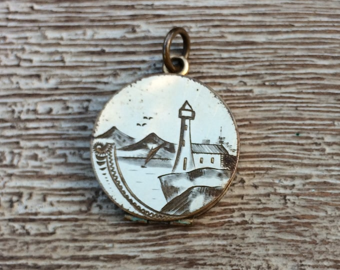 Antique Victorian Lighthouse Locket | Gold Filled | Fob Engraved Monogram | Signed CQ and R