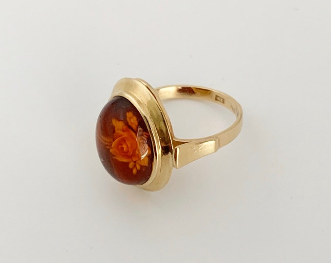 Vintage Carved Amber Rose Ring | Amber Cameo | Size 8