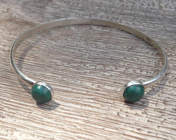 Vintage Malachite and Silver Cuff Bracelet | Silver Cuff | Malachite Bracelet