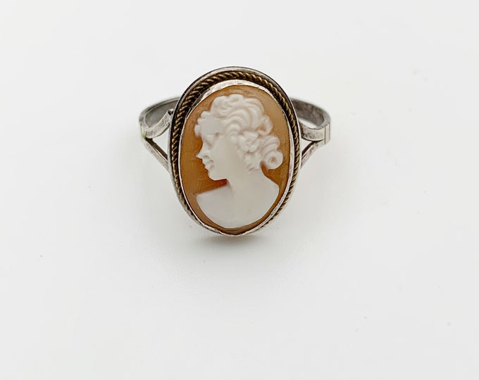 Vintage Silver Cameo Ring |  Carved Shell Cameo Ring | US Size 6 1/2