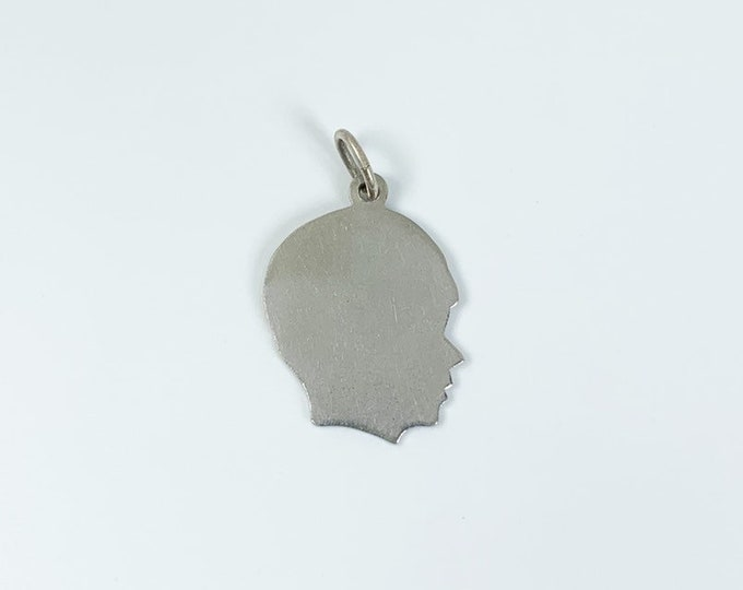 Vintage Boy's Head Charm | Engraving Charm | Sterling Silver