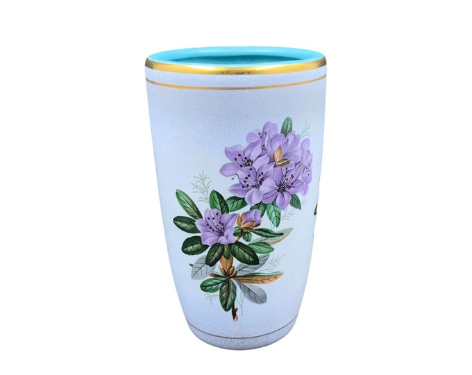 Vintage Flora Gouda Holland Rhododendron Vase | Mid Century Hand Painted Pottery