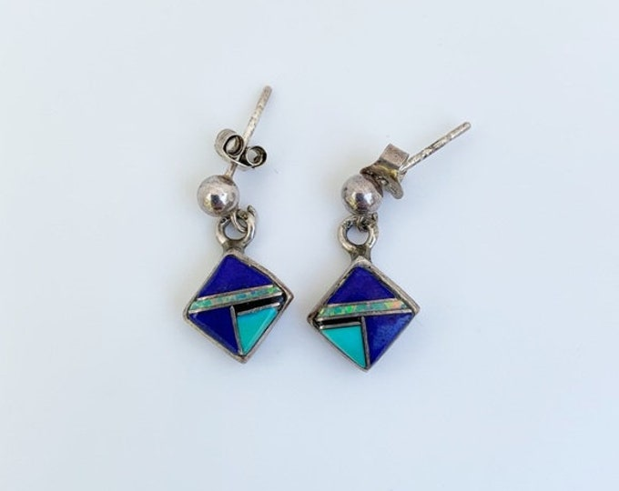 Vintage Silver Inlay Earrings   Multi-stone Inlay   Southwest Style