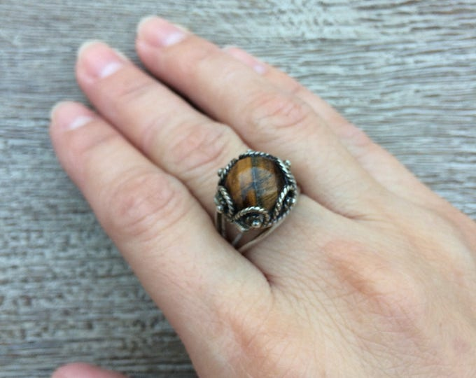 Vintage Tiger's Eye Poison Ring | Mexican Silver | Size 7 1/2
