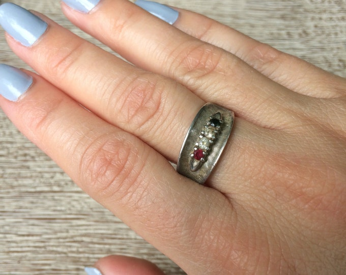 Vintage Silver Three Stone Ring | Size 8