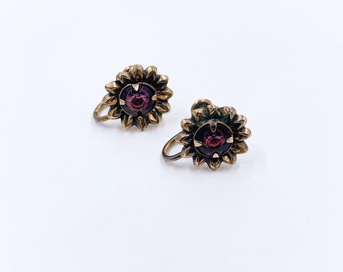 Vintage Flower Earrings   Gold Filled Screw Back Earrings