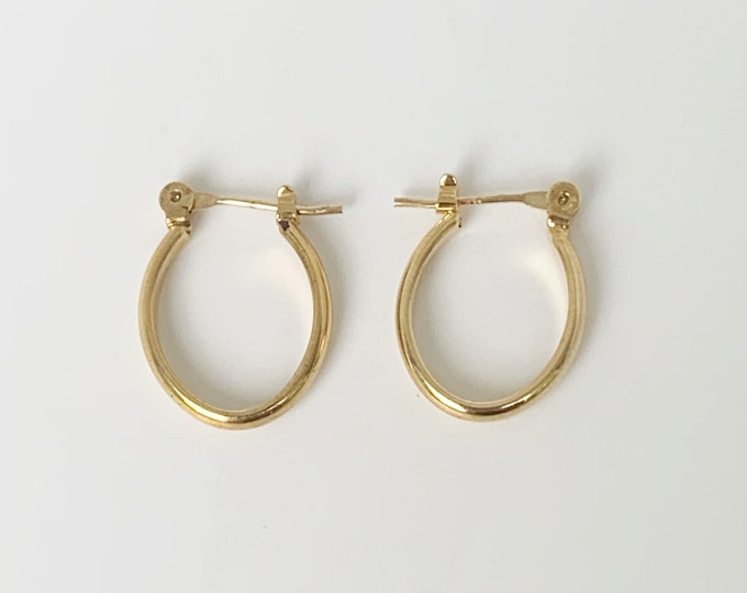 Vintage Gold Hoop Earrings | Gold Oval Hoops