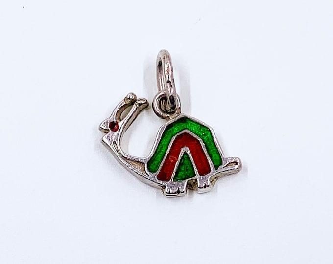 Vintage Silver Enamel Snail Charm | Green and Red Enamel Charm | Garden Snail