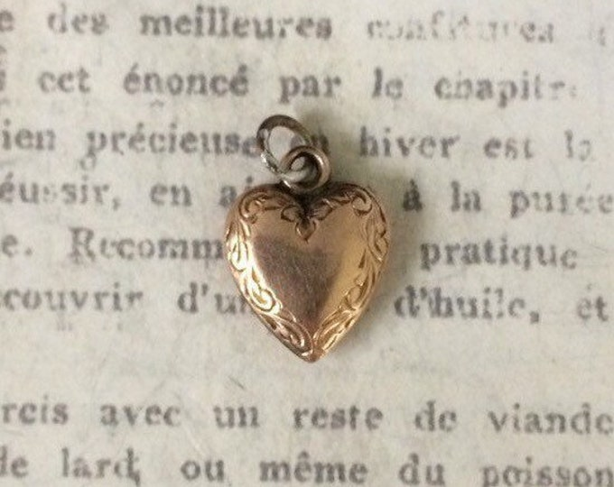 Vintage Engraved Heart Charm | Tiny Gold Filled Heart | Mini Heart Charm