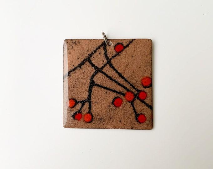 Vintage Modernist Enamel Pendant | Multi-Colored Enamel Copper Pendant