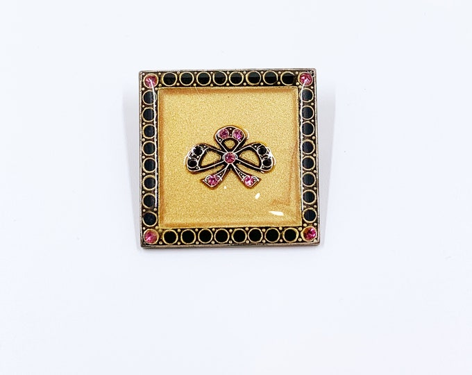 Vintage Pierre Bex Style Brooch |  Rhinestone Art Deco Bow Design Pin