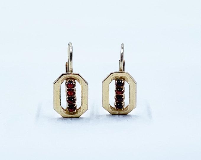 Vintage Gilt Silver Garnet Earrings | Czech Garnet Earrings