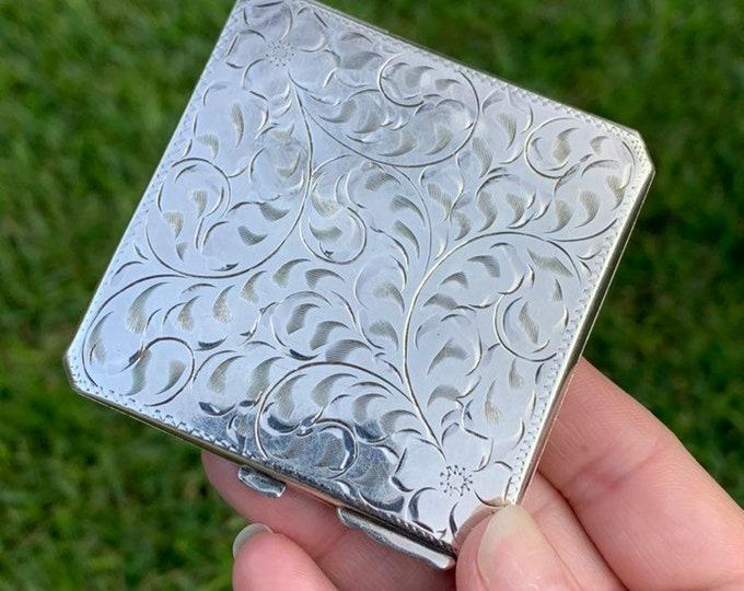 Vintage Sterling Floral Engraved Compact | Burkhardt Jewellers