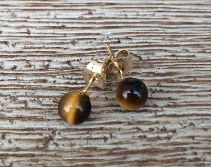 Gold Tiger's Eye Stud Earrings   14K Tiny Studs