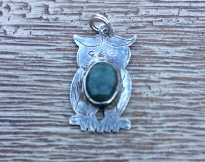 Vintage Silver Owl Charm | Green Stone | 925 Silver