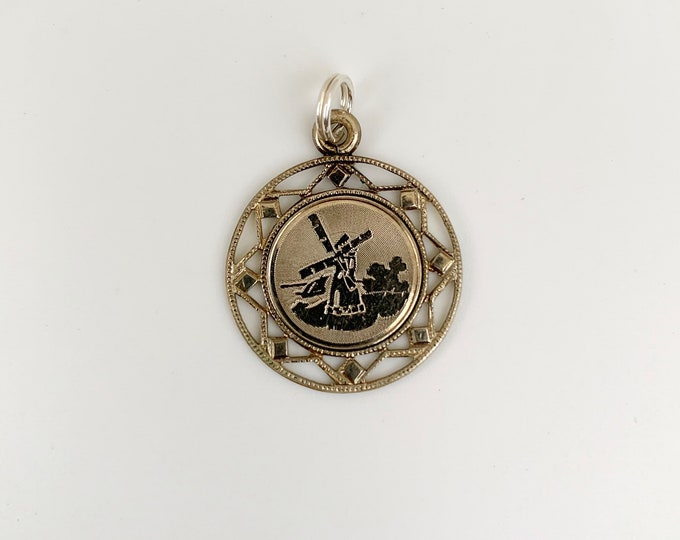 Vintage Engraved Windmill Charm | Silver Windmill Charm