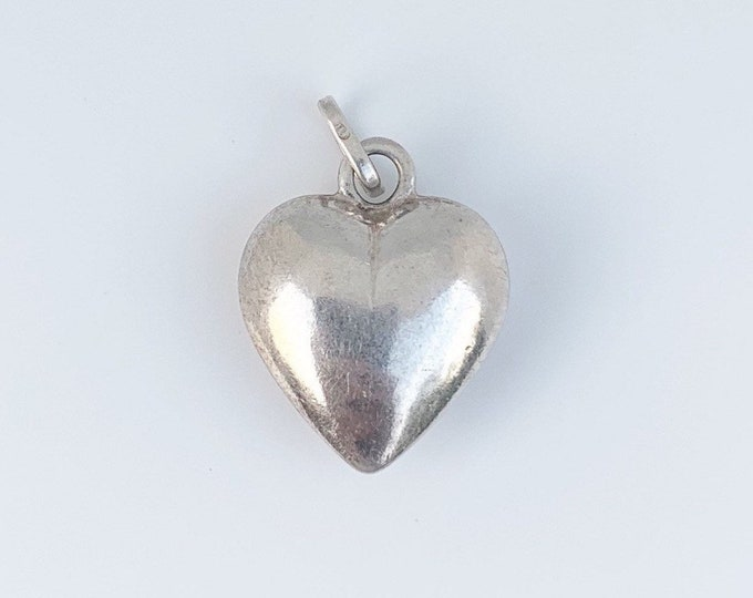 Vintage Silver Heart Charm | Puffy Heart Pendant