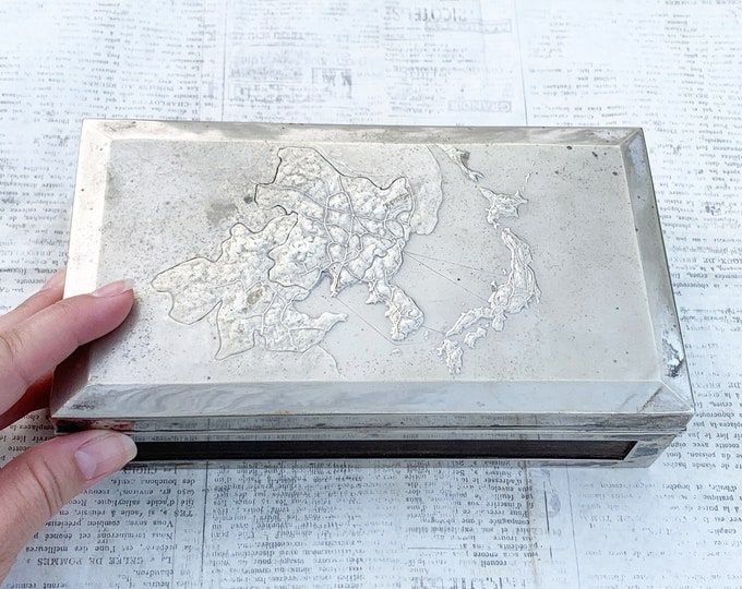 Vintage Silver Cigarette Box with Map of Japan and Korea