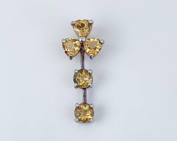 Vintage Yellow Stone Three Leaf Clover Pendant