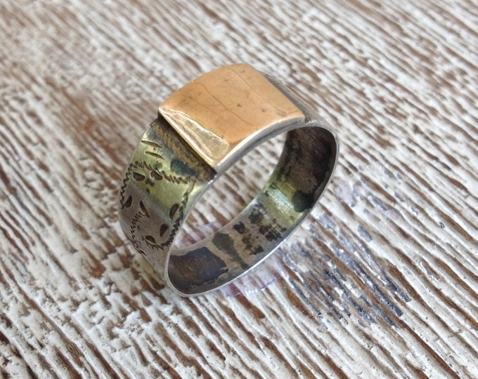 Vintage Silver and Gold Signet Ring  | Size 10