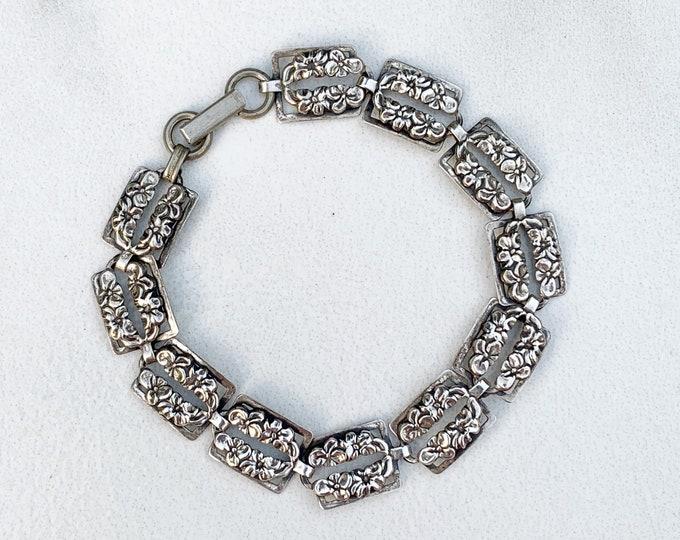Vintage Silver Flower Link Bracelet | Floral Box Link Bracelet | Beau Sterling