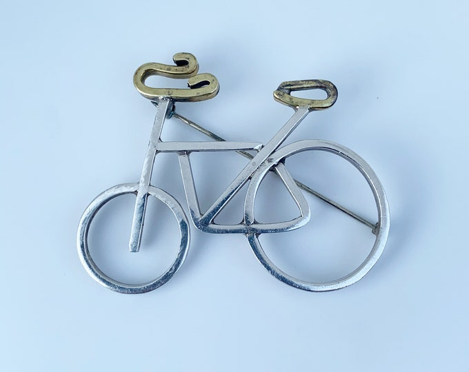 Vintage Mexican Bicycle Brooch | Silver Mixed Metals Bike Brooch