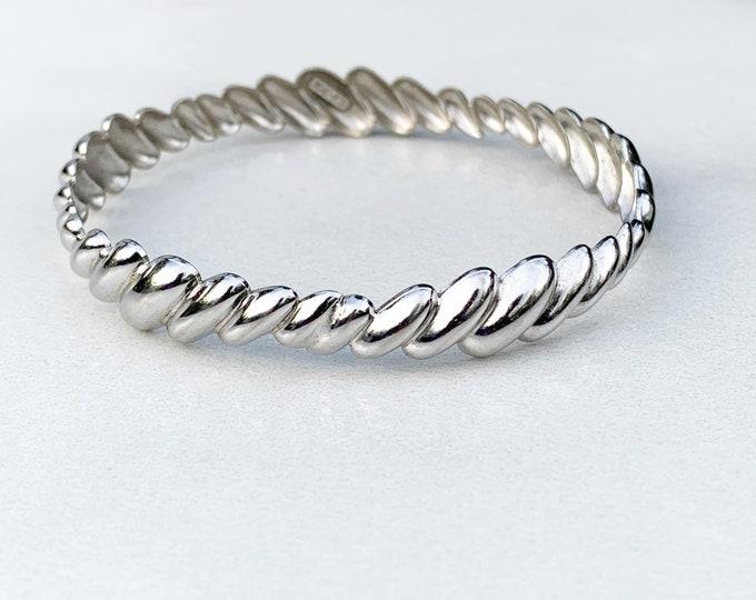 Vintage Silver Scalloped Bangle Bracelet   Beau Sterling