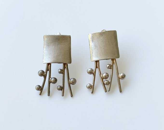 Silver Organic Modernist Earrings |  Handmade Silver Earrings